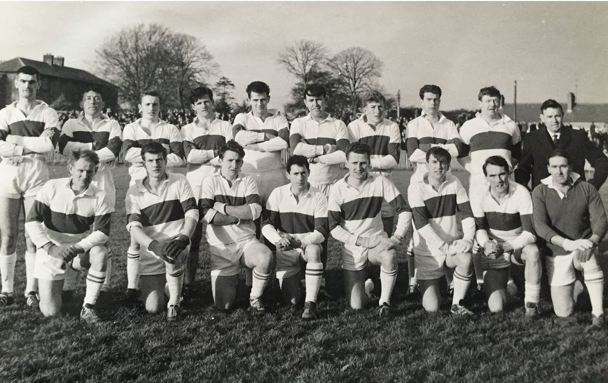Back Row: Vincent Cahill, Brian Caffrey, Paddy Ward, Robin Caffrey, Morgan Walsh, Michael Campbell, Francis Ward, Jimmy Murray, Joe Murphy, Fintan Ginnity Sr. Front Row: Des Ferguson, Larry McCormack, Tommy Hickey, Dick McInerney, Phil Fay (C), Harry Campbell, Greg Hughes, Tommy Smith