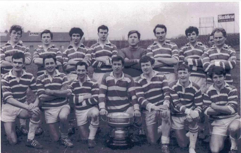 Back Row: Francis Ward, Paddy Ward, John Griffin, Jimmy Murray, Gerry McManus, Greg Hughes, Aidan Carry, Des Ferguson. Front Row: Vincent Cahill, P Carry, Dick McInerney, Harry Campbell (C), Joe Murphy, G Lynch, Tommy Hickey.